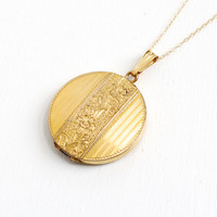 Antique 10k Gold Filled Large Flower Locket Necklace - Mid Century 1950s 1960s Round Floral Etched Photograph Jewelry