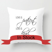 1 Corinthians 13 Pillow Cover Set of 5 White Cushion Cover Black and White 18 inch pillow covers Made to Order