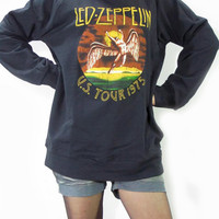 LED ZEPPELIN U.S. Tour 1975 The Legend Hard Rock Music T-Shirt Long Sleeve Sweater Unisex Shirt Women Shirt Men Shirt Rock T-Shirt Size M