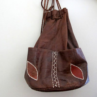 Vintage Leather Purse Brown Floral Boho Bohemian Bag