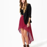 Fall for It High-Low Wine Red Skirt