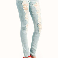 destroyed-skinny-jeans LTBLUE - GoJane.com
