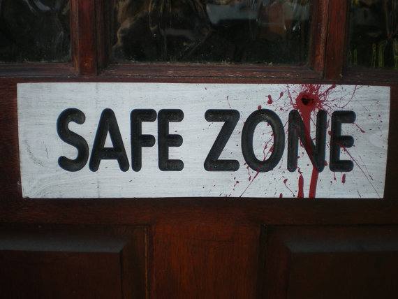Halloween Safe Zone Zombie Holocaust Wood Sign Carved Lettering