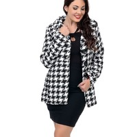 Black & White Houndstooth Button Up Marble Coat
