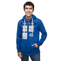 ThinkGeek Exclusive TARDIS Costume Hoodie - Heather Blue,