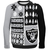 Oakland Raiders Black Busy Block Ugly Sweater