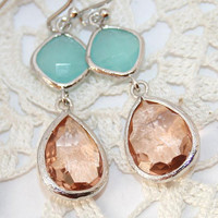 Pink Champagne and Mint Wedding Earrings, Peach Mint Teardrop Silver Earrings, Faceted Mint Peach Glass Drop bezel set earrings ,Bridal