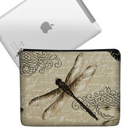 New iPad Case, Cute iPad Cover Fabric, iPad Sleeve Padded, iPad Bag Case, New iPad 3 Cover Case, iPad 2 Case  - Vintage Dragonfly black