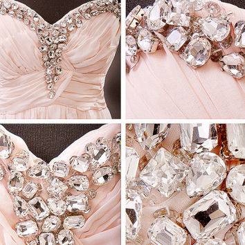 Blush bustier romantic wedding gown /prom dress / wedding dress / bridesmaid dress/ engagement party dress/ cocktail dresses / evening gown