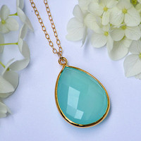 SALE Large Natural Aqua Blue Chalcedony  Vermeil Gold bezel set necklace - Large Gemstone necklace