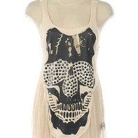 Studded High-Low Skull Top