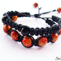 FREE SHIPPING BRACELET,Red Peacock Multi-strand stack bracelet,Shamballa-hippie style,handmade jewelry