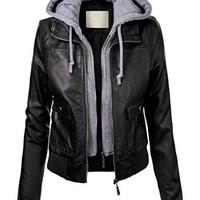 Lock and Love Women's Vegan Leather Bomber Jacket with Hoodie