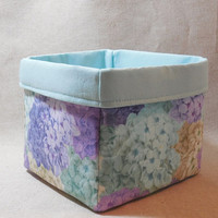 Gorgeous Aqua and Purple Hydrangea Fabric Basket