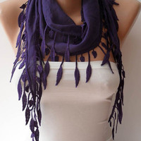 Purple Scarf with Purple Trim Edge - Summer Design -