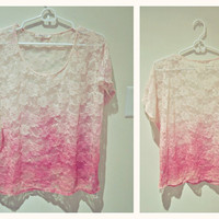 Floral Dip Dyed Lace Short Sleeved Top
