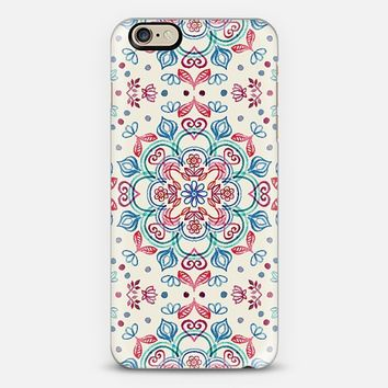 Pastel Blue, Pink & Red Watercolor Floral Pattern on Cream iPhone 6 case by Micklyn Le Feuvre   Casetify
