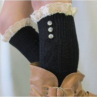 BKS20 Promotional 3 button black knee socks