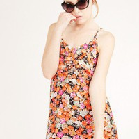 ORANGE FLORAL PRINT CAMI DRESS @ KiwiLook fashion