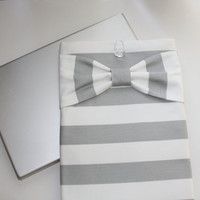 MacBook Pro, MacBook Air Sleeve / Case - Gray & White Stripes with Bow - Double Padded