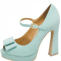 LIGHT BLUE BOW MARY JANE HEELS @ KiwiLook fashion