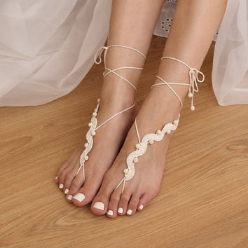 Destination Wedding Ivory Beaded Barefoot Sandals w/ Turquoise, Beach Festival Crochet Sandles, Hippie Yoga Anklet Jewelry, Boho Nude Shoes