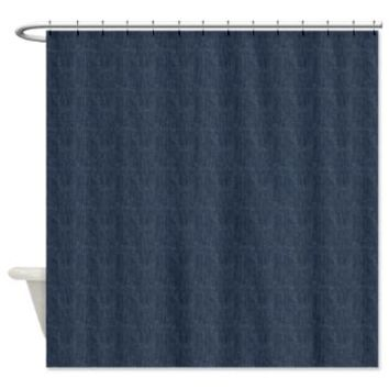 Blue Denim Shower Curtain> Washed Denim Fabric (Twill Textile)> Strawberry and Hearts