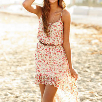 Floral Strappy High-Low Dress