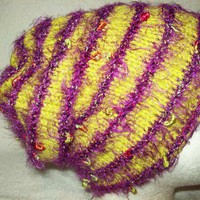 Hat Cap Slouch Beanie Handknit Soft Warm Lime with Deep Amethyst