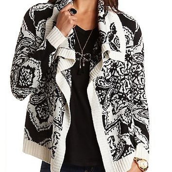 Printed Cascade Cardigan by Charlotte Russe - Black Combo