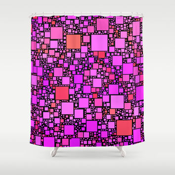 Post It Pink Shower Curtain by Alice Gosling