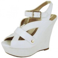 WHITE PEEP TOE STRAPPY WEDGE @ KiwiLook fashion