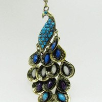 ancient vintage style peacock pendant women or girl chain long metal necklace   XL62
