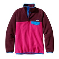 Patagonia Women's Synchilla® Recycled Fleece Lightweight Snap-T® Pullover | Radiant Magenta w/Dark Currant