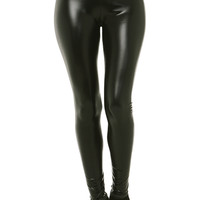 High Waisted Pleather Leggings in Shiny Black
