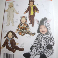 New Simplicity Pattern Halloween costume infant zebra tiger bunny bear lamb sizes xs to large  1 month to 18 months