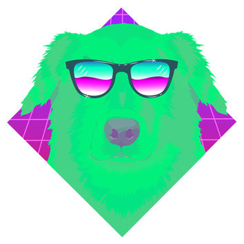 Cool green dog Art Print by Oh wow! | Society6