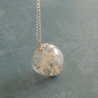 Silver Dandelion glass orb necklace, make a wish pendant,  globe necklace, glass ball jewelry, Sterling silver