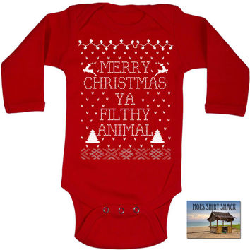Buddy the elf. Ugly Sweater. Baby Bodysuit RED Merry Christmas Ya Filthy Animal Ugly Sweater Contest All Sizes
