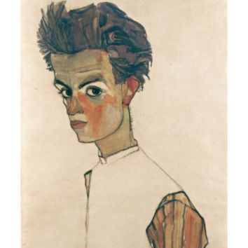 Self-Portrait with Striped Shirt Giclee Print by Egon Schiele at Art.com