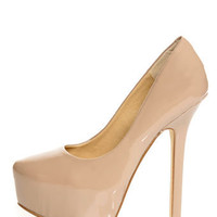 Chinese Laundry Perfect Ten Patent Nude Pointed Platform Heels