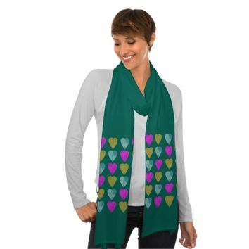 Teal Violet Chartreuse-Green Hearts Print Scarf