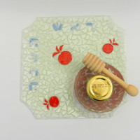 ROSH HASHANA plate,bowl,wooden honey dipper &container of honey handmade by dalit glass