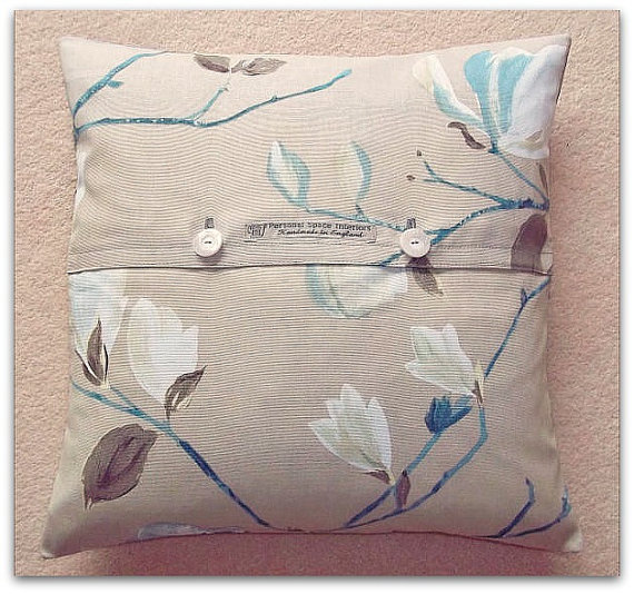 Cushion cover pillow cover Sayuri contemporary floral cotton with button fastening 18 inch