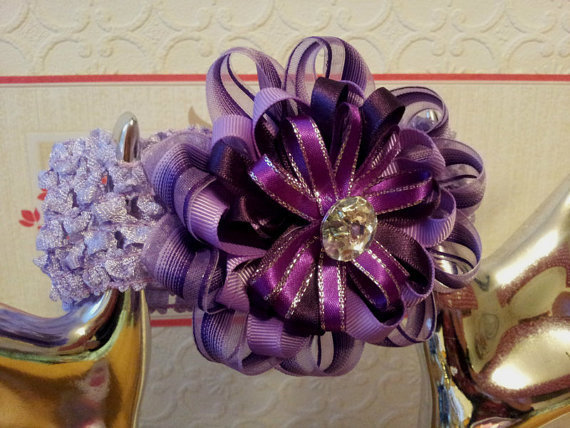 Ribbon Flower Headband in Shades of Purple