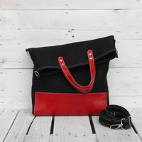 black tote bag red leather canvas foldover crossbody everyday bag black red two tone tote