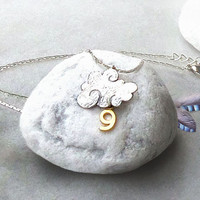 Cloud 9 necklace, two tone, silver and gold, 18k and rhodium plated, could number nine pendant necklace