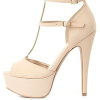 Chain T-Strap Platform Heels by Charlotte Russe - Nude