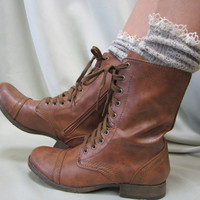 Miss Tori -   lace boot socks tweed Oatmeal combat boots cowboy boots by Catherine Cole Studio slouch  socks MADE IN USA (SLX204L)
