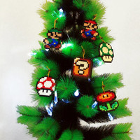 Christmas Tree Decoration Set Super Mario Bros Inspired. Mario, Luigi & Power Ups Christmas Ornaments.